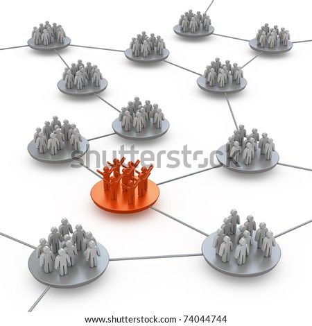 Teams connection. White isolated 3d - stock photo