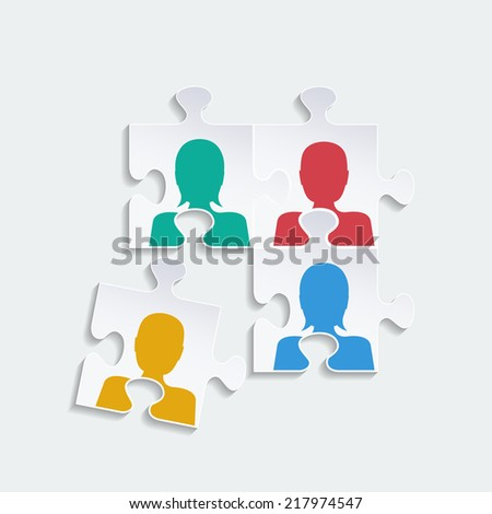 Teamwork Background in puzzle - stock photo