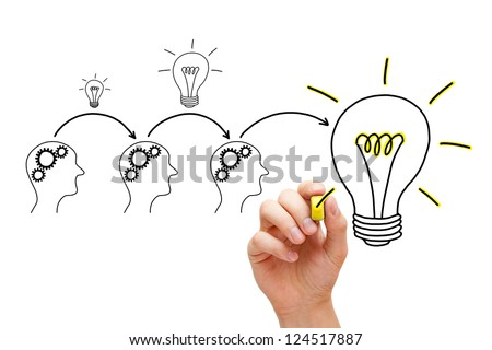 Teamwork builds big idea. If everybody gives a little, it adds up. - stock photo