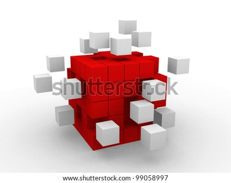teamwork business abstract concept with red cubes - stock photo