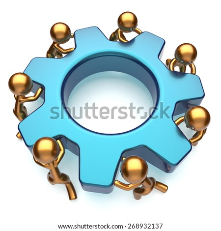 Teamwork business action process workers turning gear together. Partnership team cooperation relationship efficiency community workforce motion concept. 3d render isolated on white - stock photo