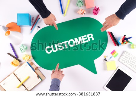 TEAMWORK BUSINESS BRAINSTORM CUSTOMER CONCEPT - stock photo