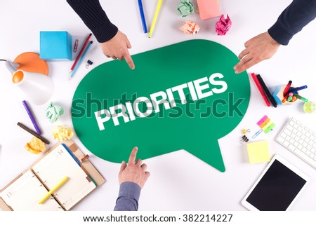 TEAMWORK BUSINESS BRAINSTORM PRIORITIES CONCEPT - stock photo