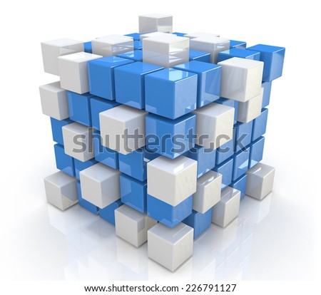 teamwork business concept - cube assembling from blocks - stock photo