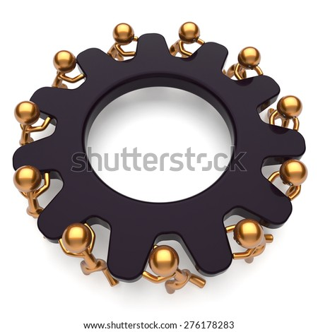 Teamwork business partnership assistance unity brainstorm process mans start turning black gear together. Cooperation relationship community efficiency concept. 3d render isolated on white - stock photo