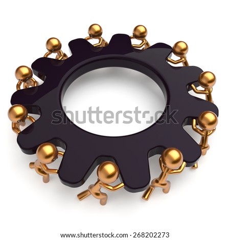 Teamwork business process mans start turning black gear together. Partnership team cooperation relationship community efficiency concept. 3d render isolated on white - stock photo