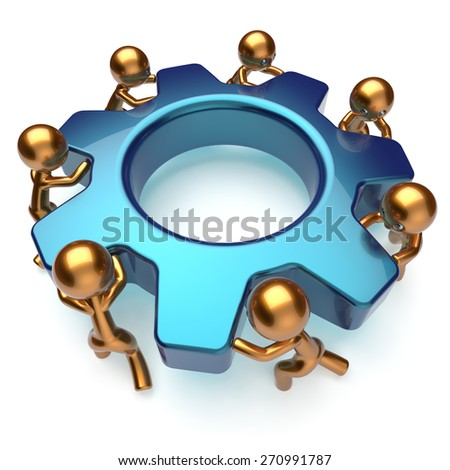 Teamwork business process partnership workers turning gear together. Friends team cooperation relationship efficiency community workforce concept. 3d render isolated on white - stock photo