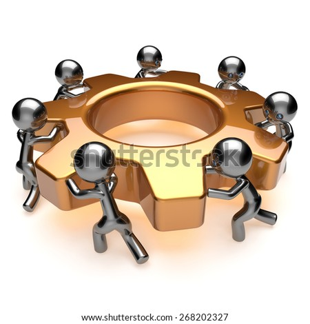 Teamwork business process workers turning gear together. Partnership team cooperation relationship community efficiency concept. 3d render isolated on white - stock photo