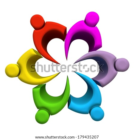 Teamwork colorful partners company 3D image - stock photo