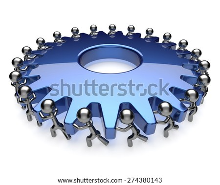 Teamwork community business process mans turning gear together. Team brainstorming partnership cooperation assistance hard work efficiency unity concept. 3d render isolated on white - stock photo