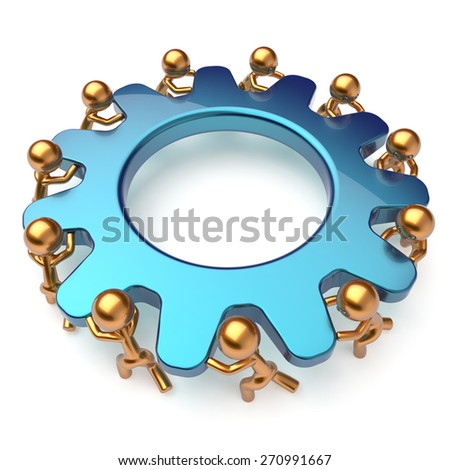 Teamwork community business unity process mans turning gear together. Brainstorming partnership team cooperation relationship workers efficiency concept. 3d render isolated on white - stock photo