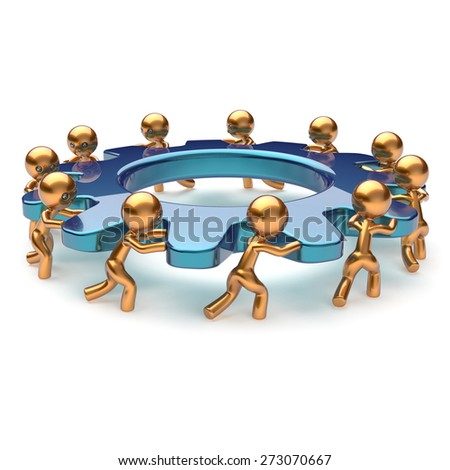 Teamwork community partnership power business process mans turning gear together. Brainstorming team cooperation relationship workers efficiency concept. 3d render isolated on white - stock photo