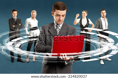 Teamwork concept. Business team against different backgrounds - stock photo