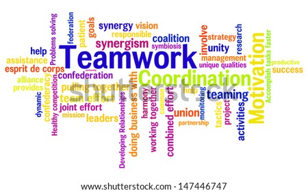 Teamwork concept in word tag cloud isolated on white background - stock photo