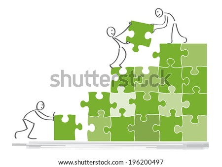Teamwork concept, people work together, assemble puzzle pieces  - stock photo