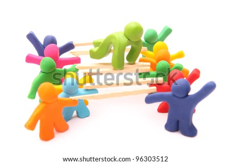 teamwork concept - trust and cooperation training - living bridge - - stock photo