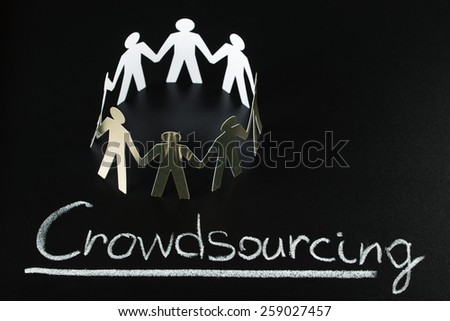 Teamwork Concept With Crowdsourcing Word Written On Blackboard - stock photo