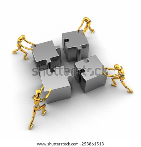 Teamwork concept with four golden mannequins pushing puzzle pieces in place - stock photo