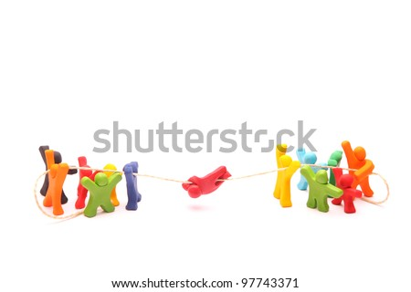 teamwork concept with plasticine puppets. educational cooperation training building trust and responsibility - isolated on white - stock photo