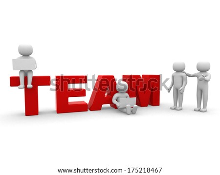 Teamwork. Conceptual business illustration. White background - stock photo