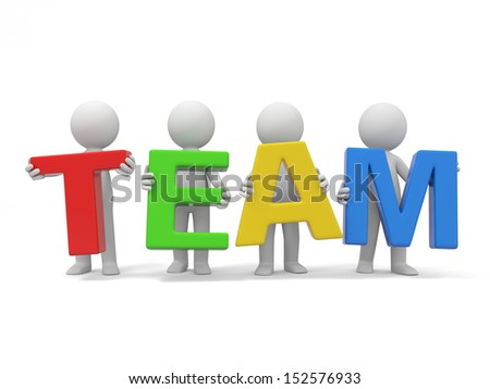 teamwork/3d human character with T E A M/ group/cooperation - stock photo