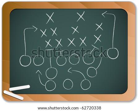 Teamwork Football Game Plan Strategy on Blackboard - stock photo