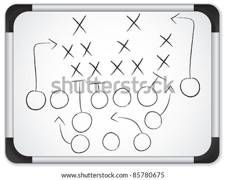Teamwork Football Game Plan Strategy on Whiteboard - stock photo
