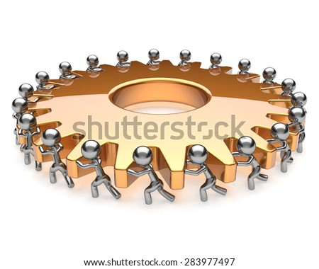 Teamwork gear partnership team work hard job business process men turning together. Brainstorming cooperation assistance efficiency community unity concept. 3d render isolated on white - stock photo