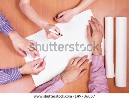 Teamwork - Group Of People On Casual Meeting. Concept -  drawing project - stock photo