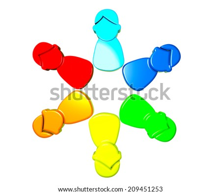 Teamwork group of working people concept symbol 3D image design - stock photo