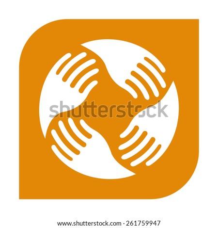 Teamwork Hands Logo. Human connection. - stock photo