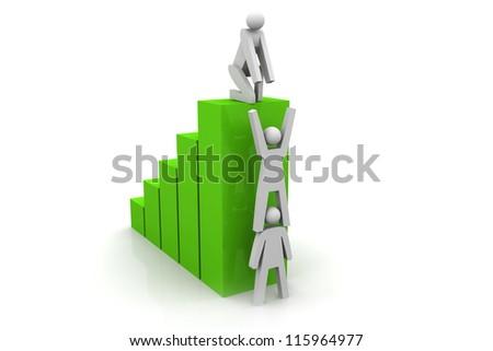 Teamwork Help Up Bar Graph - stock photo