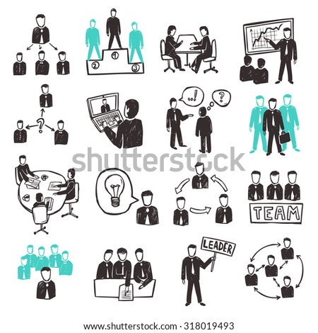 Teamwork icons set with sketch business people discussion organization and partnership scenes isolated  illustration - stock photo