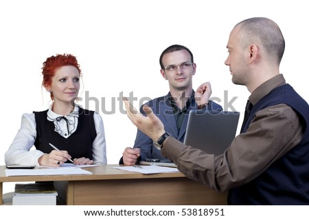 Teamwork in office discussing problems - stock photo