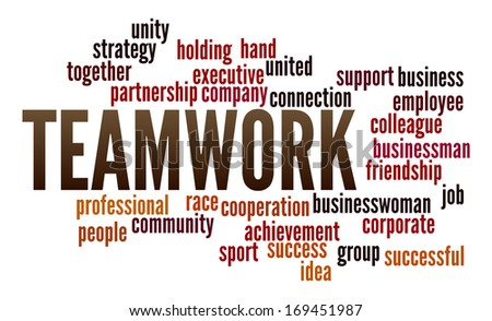 Teamwork  in word collage - stock photo