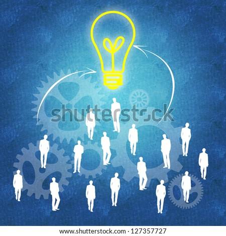 Teamwork leading to bright ideas - stock photo