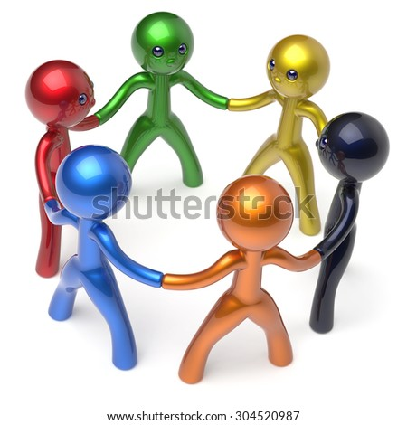 Teamwork men people circle social network individuality characters human resources friendship team six different cartoon friends unity meeting brainstorm icon concept colorful 3d render isolated - stock photo