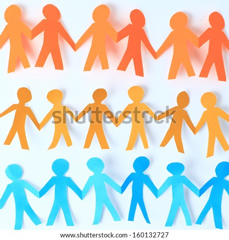 teamwork, paper people over white background - stock photo