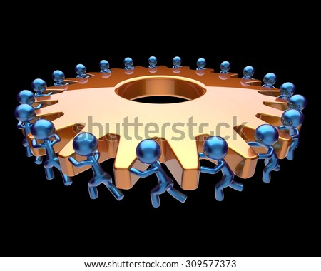 Teamwork partnership gear wheel cogwheel business process team work men workers turning gearwheel together manpower characters cooperation make efficiency concept. 3d render isolated on black - stock photo