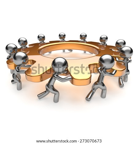 Teamwork partnership unity business process 11 workers turning gear together. Team cooperation efficiency relationship community workforce brainstorm concept. 3d render isolated on white - stock photo