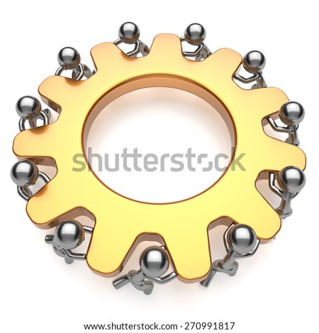 Teamwork process business workforce community workers turning gear together. Partnership team cooperation relationship efficiency concept. 3d render isolated on white - stock photo