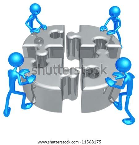 Teamwork Puzzle - stock photo