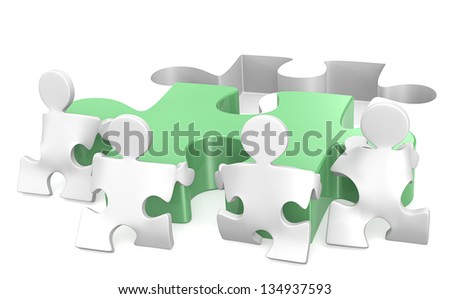 Teamwork. Puzzle People x4 helping out putting piece in place. Green. - stock photo