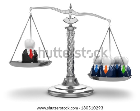 Teamwork. Scales and people on white isolated background. 3d - stock photo