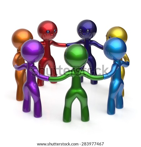 Teamwork social network circle people diverse characters friendship individuality partnership team seven cartoon friends unity meeting icon concept colorful. 3d render isolated - stock photo