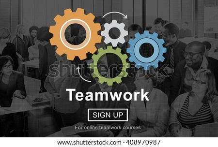 Teamwork Team Building Cooperation Relationship Concept - stock photo