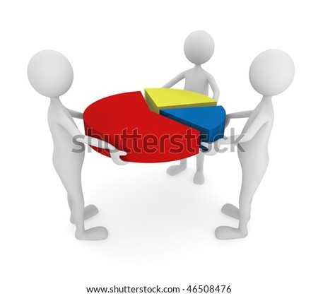 Teamwork. Team combining a pie chart; great for teamwork, marketing and presentation concepts - stock photo