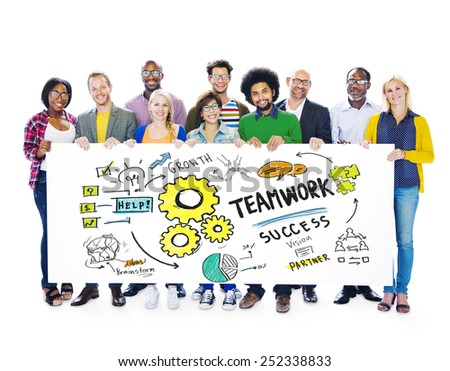 Teamwork Team Together Collaboration Group People Banner Concept - stock photo