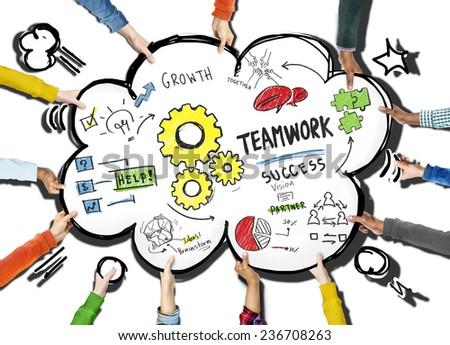 Teamwork Team Together Collaboration People Holding Cloud Concept - stock photo