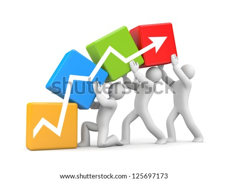 Teamwork to success - stock photo